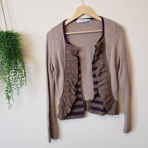 Sparrow Anthropologie Ruffle Open front Cardigan